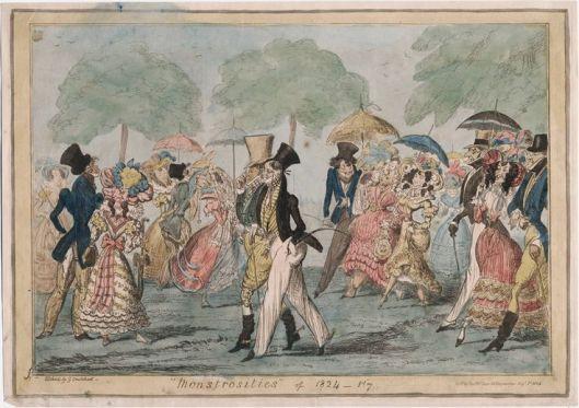 monstrosities in the park 1824 cruikshank