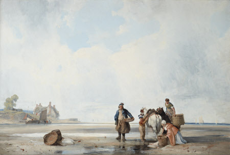 Oil painting on canvas, Coastal Scene of Northern France by Richard Parkes Bonington (Arnold, Near Nottingham 1802 ¿ London 1828), 1826. A wide stretch of sand with a group of four fisherfolk (a man, two women and a young boy) and their two ponies in the foreground on the right; the women are loading basket-panniers onto the ponies, the boy holds one of trhe ponies and the man holds a basket-tray on his left hip. Centre right on the sand is a wooden barrel with a wicker tray leaning on it and behind to the left in the distance is a Cottage and tree on a promontory. Distant view of the sea on the right. Two thirds of the painting is occupied by a large expanse of cloudy sky.