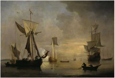 willem-van-de-velde-an-english-galliot-at-anchor-with-fishermen-laying-a-net-1691
